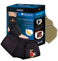 King Brand® ColdCure® Front/Side Ankle Wrap Product Box With Three Gel Packs and the Wrap Itself