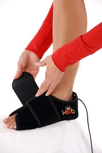 King Brand BFST Foot Wrap Being Tightened Adjustable Comfortable Secure Fit Quick Treatment