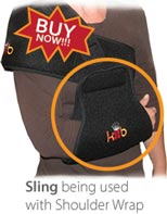 The King Brand Sling Can be Used with a Shoulder Wrap for More Mobilty and Support