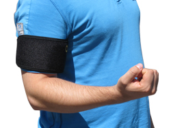 A Person Wearing a King Brand Wrist ColdCure Wrap to Treat Lower Bicep Tendonitis