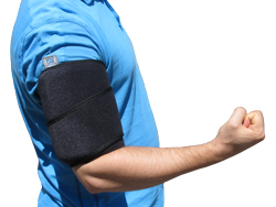 Bicep Tendonitis Injury Being Treated by King Brand Leg Wrap Coldcure BFST Painless Quick Recovery