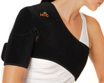 A Person Wearing the King Brand Side Shoulder ColdCure Wrap
