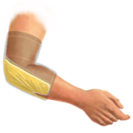 Drawing of a King Brand ColdCure® Wrap in Use on an Elbow