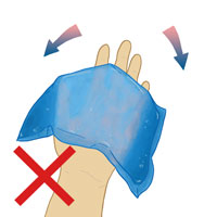 An illustration of a hand attempting to use a loose gel pack instead of a King Brand® ColdCure® Wrist Wrap