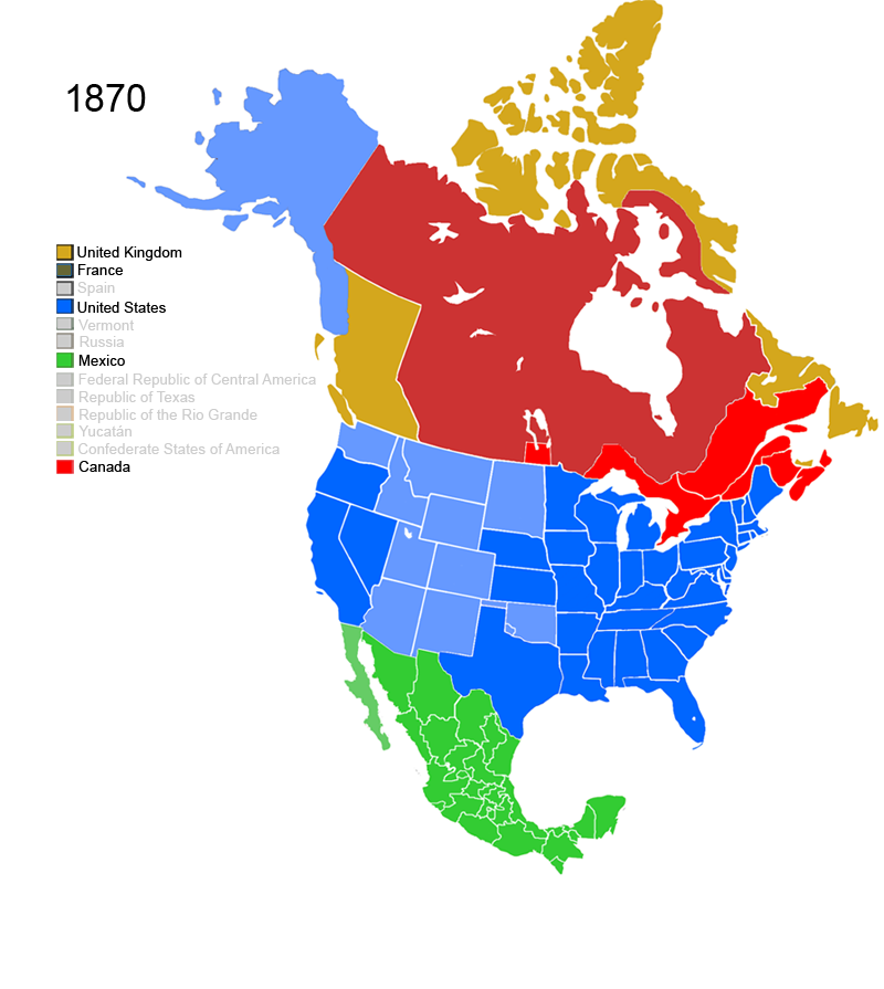 Non-Native American Nations Control over North America 1870
