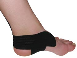 King Brand® Black Support Tape Applied to an Ankle