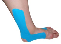 King Brand® Blue Support Tape Applied to an Ankle & Foot