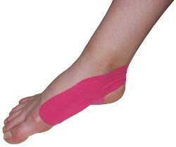 King Brand® Pink Support Tape Applied to an Ankle