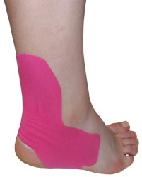 King Brand® Pink Support Tape Applied to an Ankle & Foot