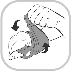 A drawing of how to adjust a King Brand® Wrist Wrap for the perfect fit